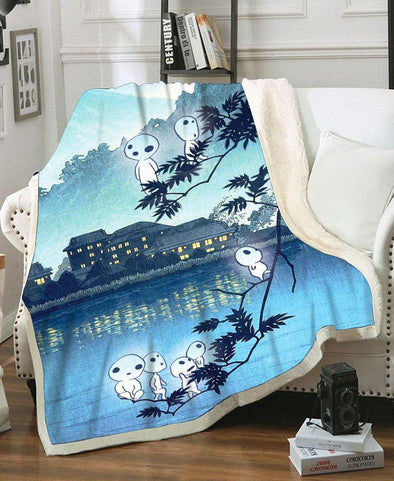 Blanket-Adult 80″x 60″-Shirt-Clothing-Jacket-Zip-Up-Mononoke Forest Spirits Fleece Blanket-VIO STORE