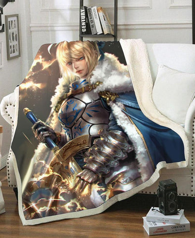 Fate Stay Night-Adult 80″x 60″-Shirt-Clothing-Jacket-Zip-Up-Pendragon Fleece Blanket-VIO STORE