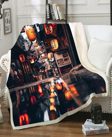 Blanket-Adult 80″x 60″-Shirt-Clothing-Jacket-Zip-Up-Tokyo On A Rainy Day Fleece Blanket-VIO STORE