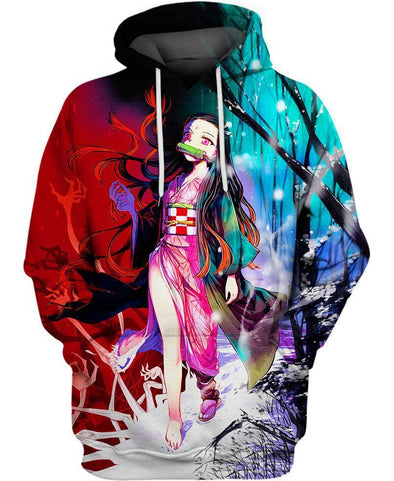 Demon Slayer-Hoodie-Shirt-Clothing-Jacket-Zip-Up-Nezuko in The Snow Forest-VIO STORE