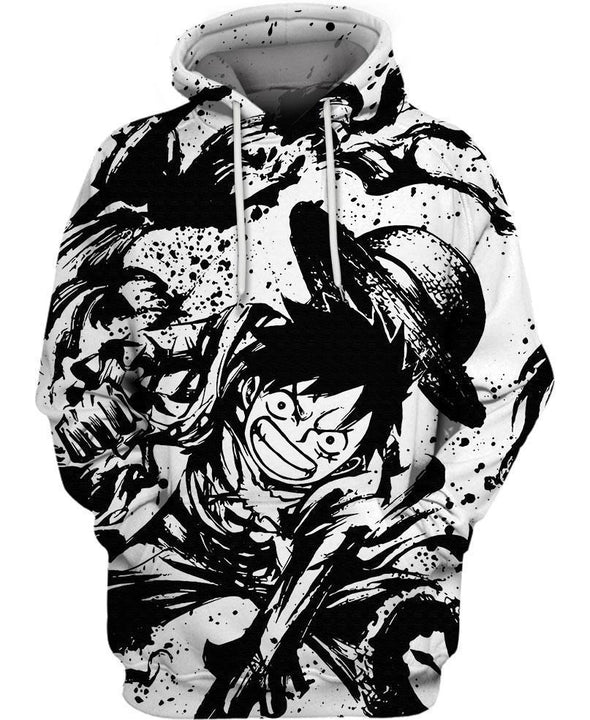 One Piece-Hoodie-Shirt-Clothing-Jacket-Zip-Up-Ink Monkey D. Luffy-VIO STORE