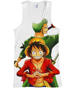 One Piece-Tank-Shirt-Clothing-Jacket-Zip-Up-Zoro and Luffy-VIO STORE