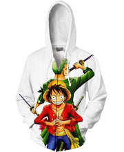 Load image into Gallery viewer, One Piece-Zip-Shirt-Clothing-Jacket-Zip-Up-Zoro and Luffy-VIO STORE