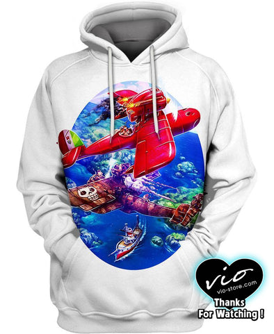 Studio Ghibli-Hoodie-Shirt-Clothing-Jacket-Zip-Up-Red Pilot-VIO STORE