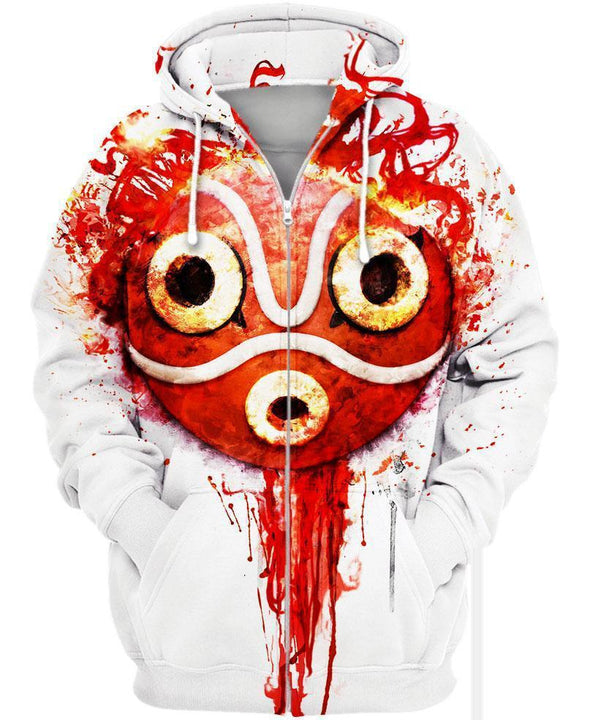 Studio Ghibli-Zip-Shirt-Clothing-Jacket-Zip-Up-Forest Princess Mask-VIO STORE