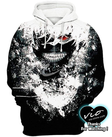 Tokyo Ghoul-Hoodie-Shirt-Clothing-Jacket-Zip-Up-Kaneki Ink Art-VIO STORE