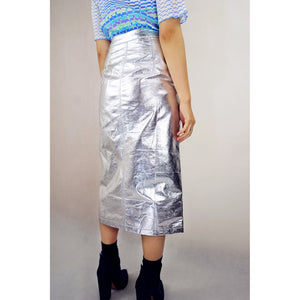 The Pleat is On Metallic Skirt