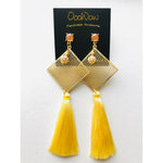 Yellow Code Tassel Earrings