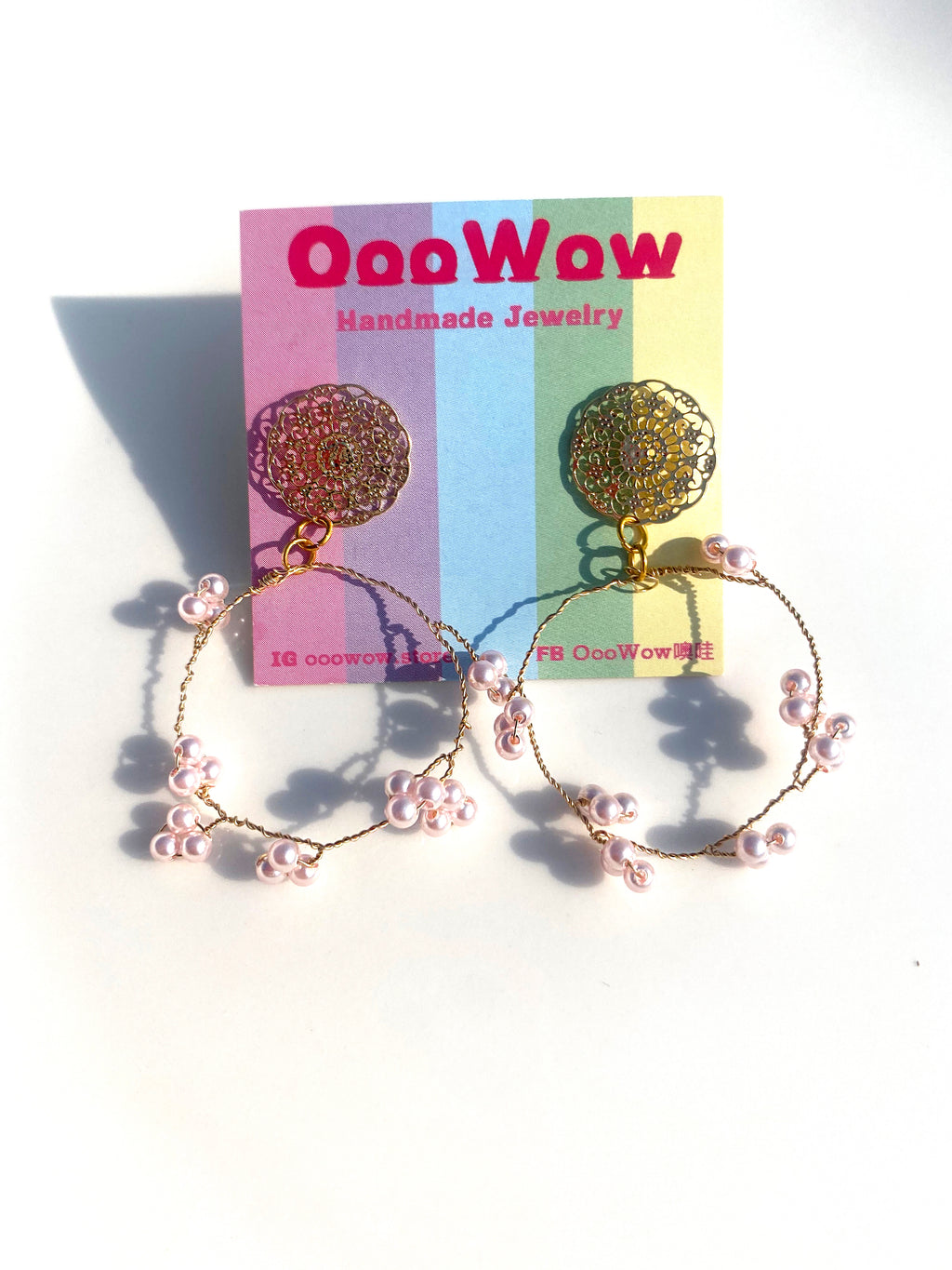 OooWow Circle Gold Wire Pearl Earrings