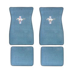 1964 -1973 ford mustang embroided bright blue carpet mats