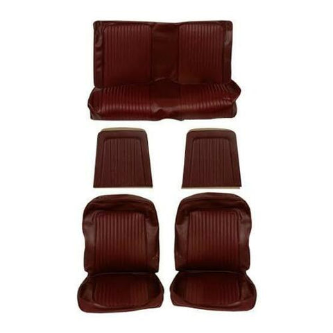 1968 ford mustang dark red coupe complete seat trim kit front and rear