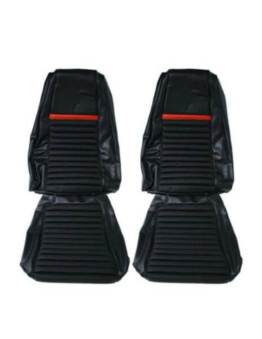 1969 mustang mach 1 front seat upholstery black with red stripe