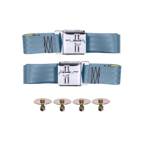 1964 -1966 1967-1968 1969 1970 -1973 ford mustang light blue seat belts new with logo
