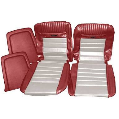 1965-66 mustang coupe red/white pony deluxe complete seat trim kit