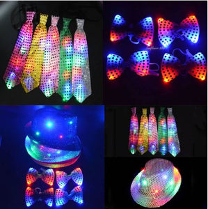 LED Jazz Hat Cap Bow Tie & Neck Tie Props