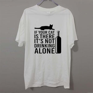 Cat Lover Gift Not Drinking Alone Wine Bottle Funny Professor T-shirt