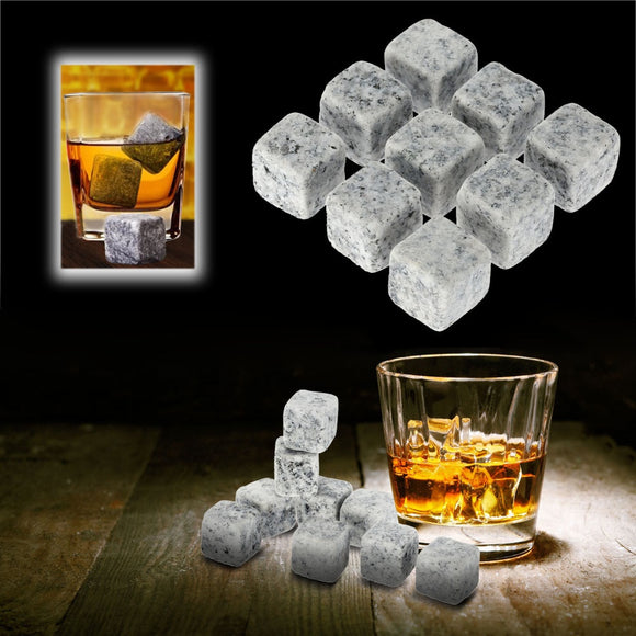 9 Pcs Reusable Whiskey Stones Chillers Coolers Cubes Granite