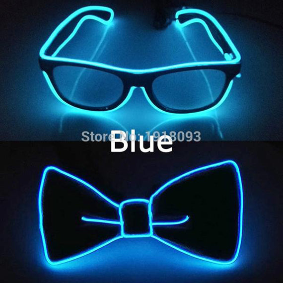 Wire Glasses + Bow Tie Glow Party Supplies LED
