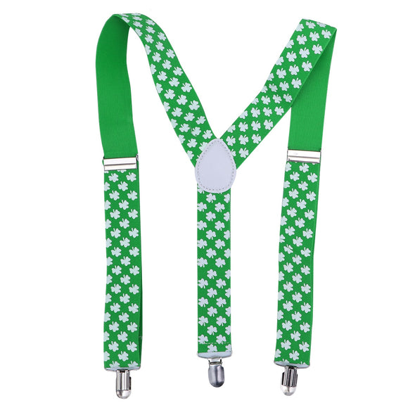 Clover Shamrock Suspenders St. Patrick's Day Irish Day Costume Accessories