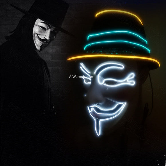 Neon Mask V for Vendetta Mascara Led  Halloween Glowing