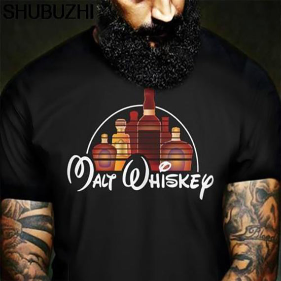 Malt Whiskey T Shirt Black Men Cotton T-Shirt