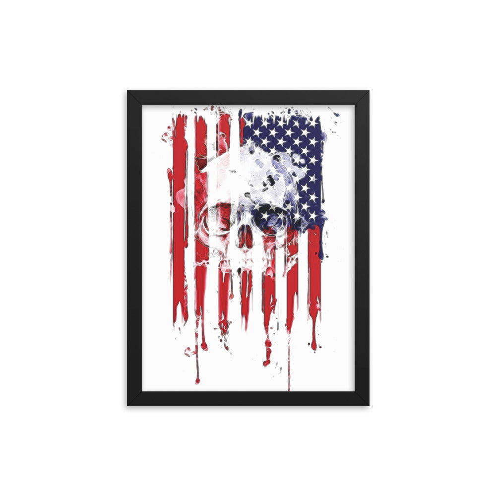 US Skull Flag Framed poster