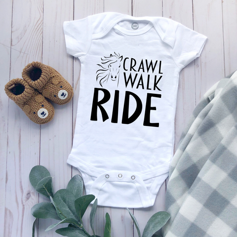 """Crawl Walk Ride"" - Baby Bodysuit"