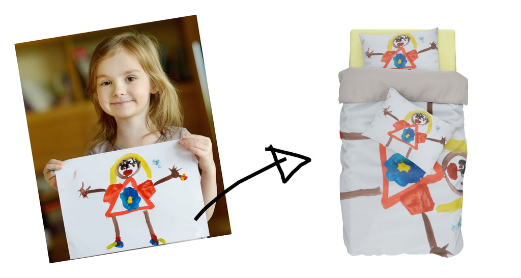kidsartify custom bedding set with kid's drawing