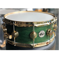 "DW USA Collector's All-Maple 5.5""x14"" Snare Drum, Satin Oil Emerald, Gold HW"