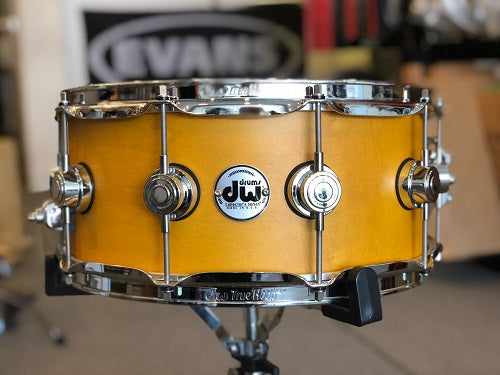"DW USA Collector Series All-Maple 6""x14"" Snare Drum, Satin Amber, Chrome Hardware"