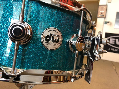 "DW USA Collector Series All-Maple 6""x14"" Snare Drum, FinishPly Teal Glass with Chrome Hardware"