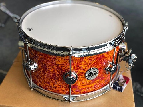 "DW USA Collector's Series All-Maple 7""x13"" Snare Drum, FinishPly Amber Swirl, Chrome Hardware"