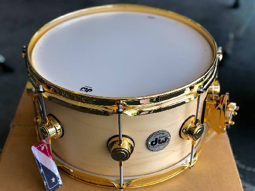 "DW USA Collector's Series All-Maple 7""x13"" Snare Drum, Satin Oil Natural, Gold Hardware"