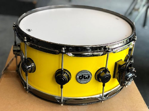 "DW USA Collector's Series All-Maple 6.5""x14"" Lacquer Custom Canary Yellow, Black Nickel Hardware"