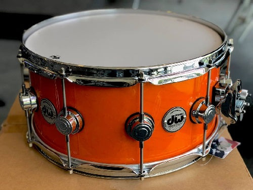"DW USA Collector's Series All-Maple 6.5""x14"" Lacquer Custom Tangerine with Chrome Hardware"