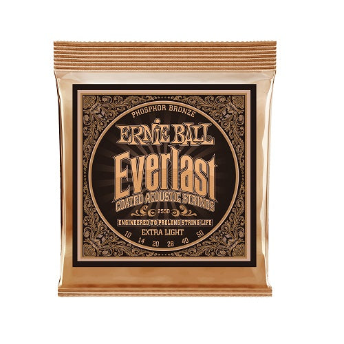 Ernie Ball Everlast Extra Light Coated Phosphor Bronze 10-50 Acoustic Guitar Strings