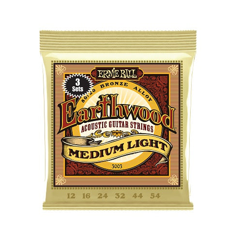 Ernie Ball Earthwood Medium Light 80/20 Bronze 12-54 Acoustic Guitar Strings: 3-Pack