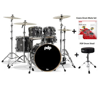 DW PDP Concept Maple 5-pc Drum Kit with Hardware - Black Sparkle