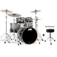 DW PDP Concept Maple 5-pc Drum Kit with Hardware - Silver to Black Fade