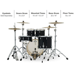 DW PDP Spectrum 5-pc Drum Kit with Hardware - Matte Ebony Stain
