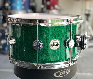 "DW USA Collector Series All-Maple 7""x13"" Snare Drum, FinishPly Green Glass, Chrome Hardware"