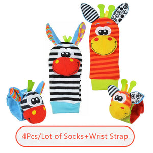 0-12 Months Cartoon Baby Toys Soft Wrist Strap Foot Socks