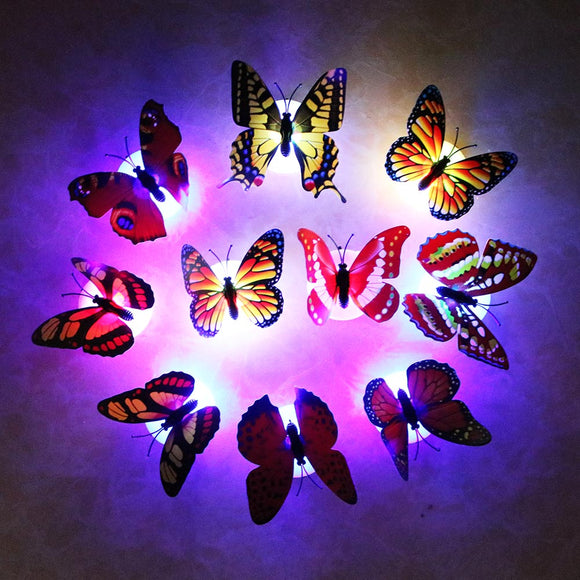 10pcs/lot Butterfly Wall Stickers LED Night Light
