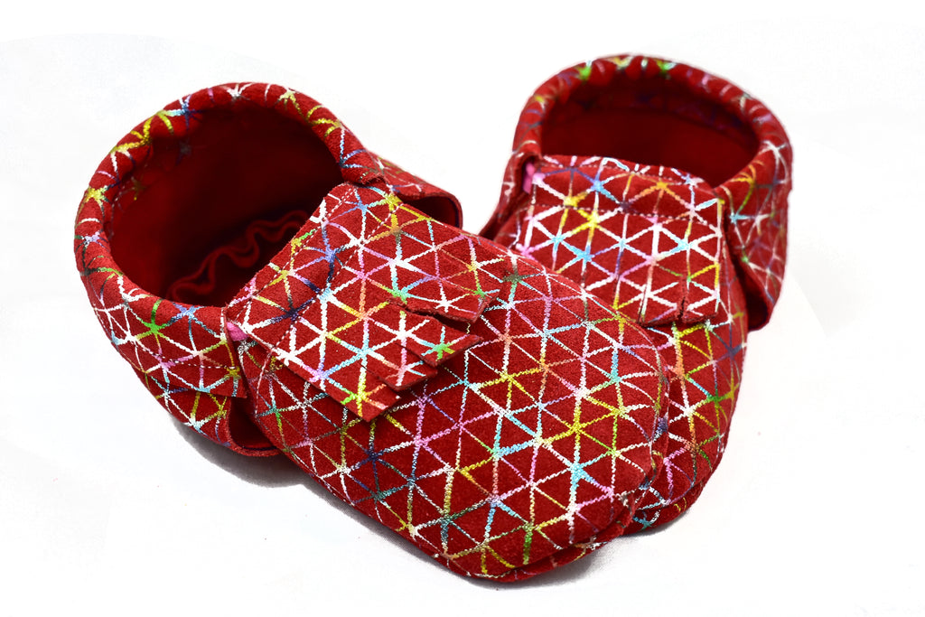Red Abstract Alexavier Moccasins