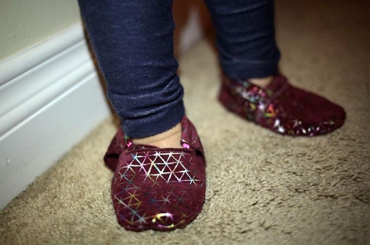 Grace Purple Abstract Moccasins