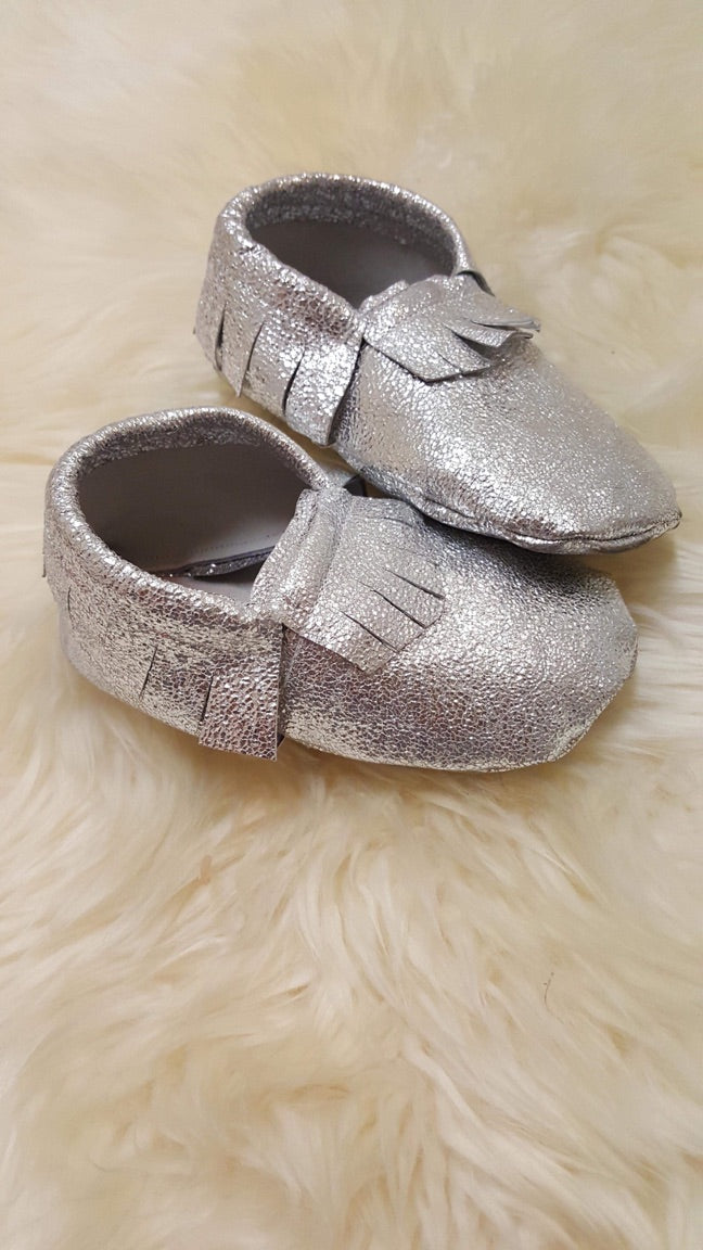 3-6 Months Only Silver Sparkle Moccasins