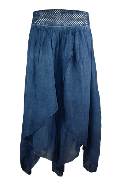garment dyed blue authentic baggy pant bottoms ipekci