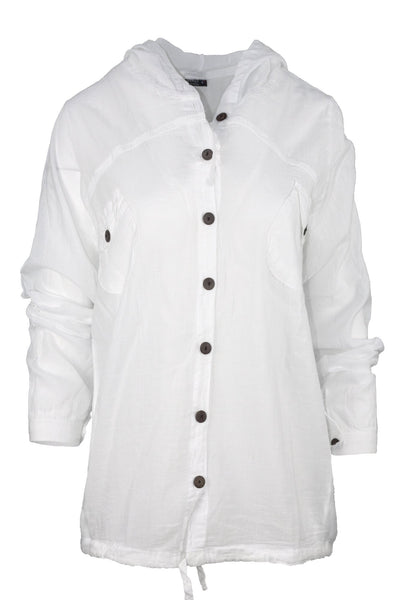white casual shirt with hood top ipekci