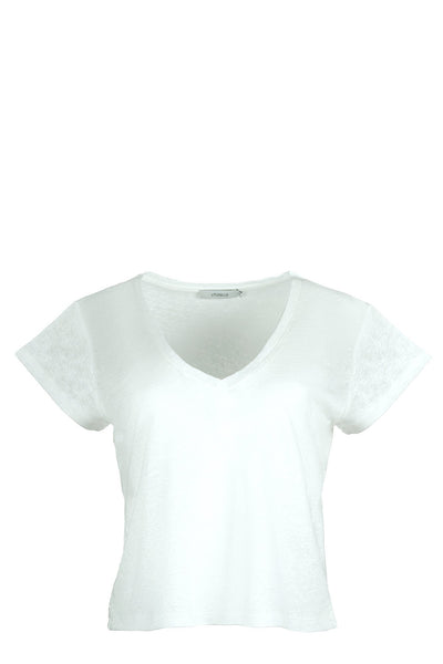 chassca basic V-neck loose fit linen t-shirt - Breakmood