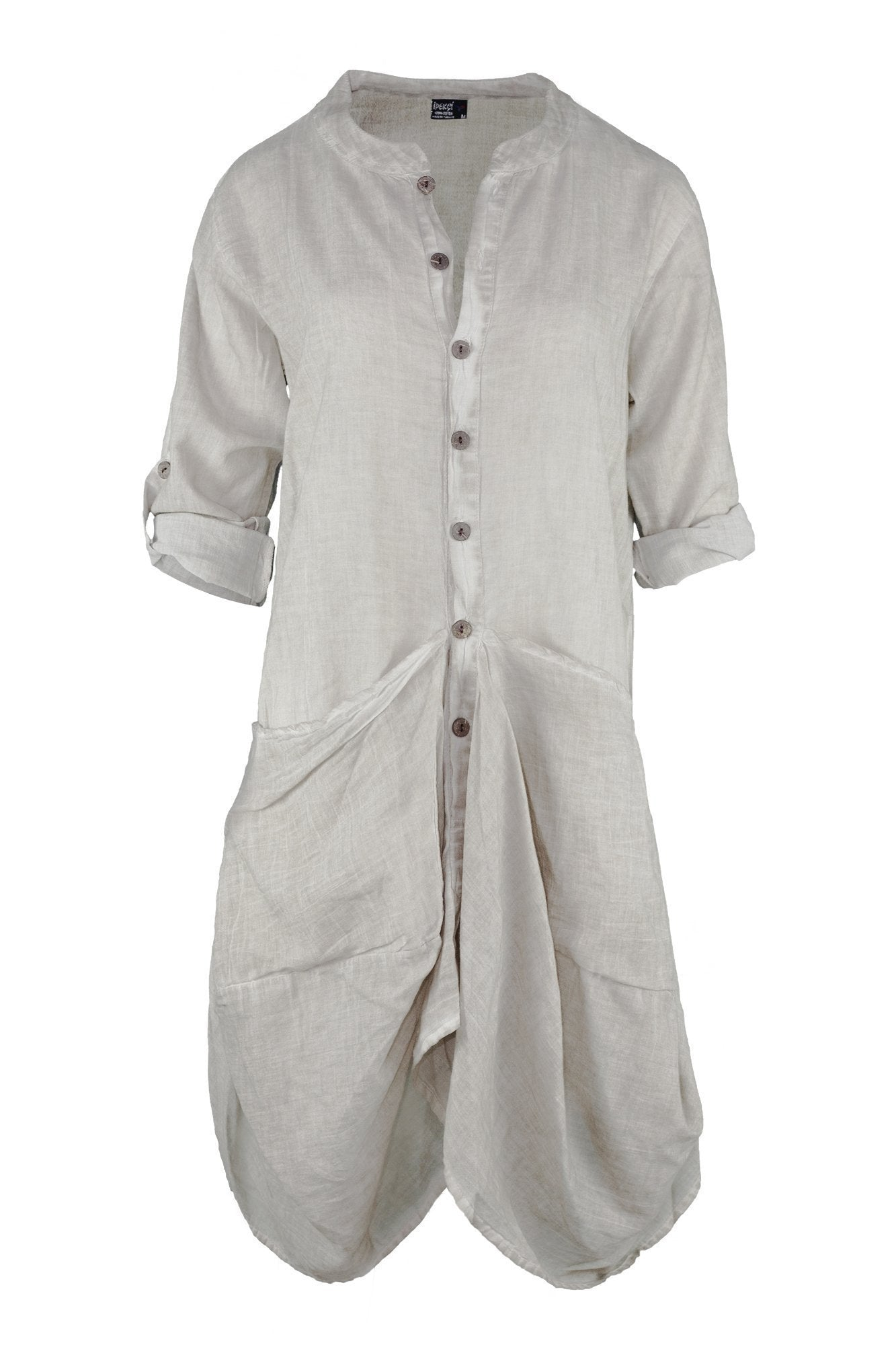 ipekci  beige denim effect long sleeve dress with baggy pockets dress breakmood-2.myshopify.com
